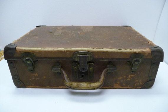 Vintage Antique Suitcase Briefcase Metal Corners Hardware Beat