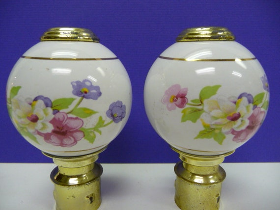 Two Porcelain Bed Post Finials Vintage Pair Floral