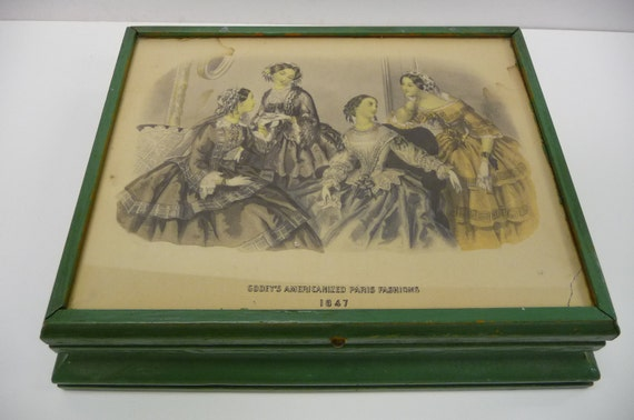 Vintage jewelry box with antique Victorian fashion print under glass top and mirror SALE