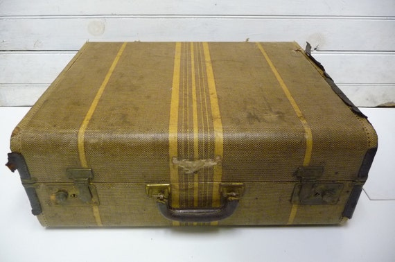 Vintage suitcase Rustic striped train case luggage Initials C.H.S