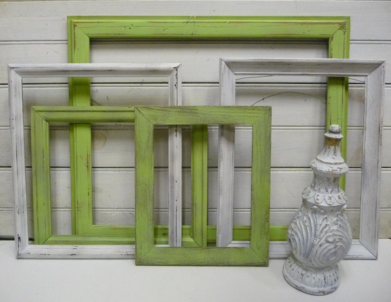 5 Frames and a Finial Upcycled Lime green and White Big wall grouping 16 1/2 x 20 1/2 on down