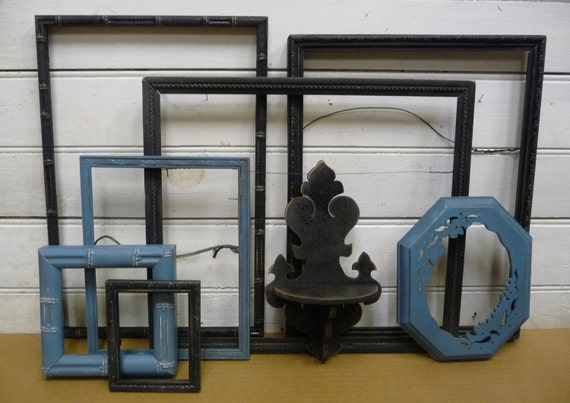 Frame Collection Black and Blue 7 frames and a shelf Framing supplies Upcycled