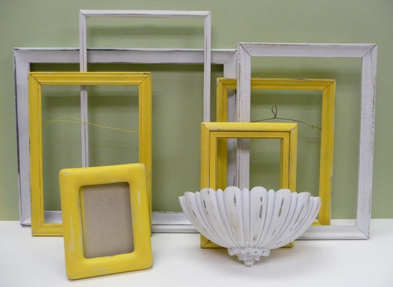 Upcycled Frames White and Butter Yellow shabby chic Cottage Framing collection Wall decor Variety sizes