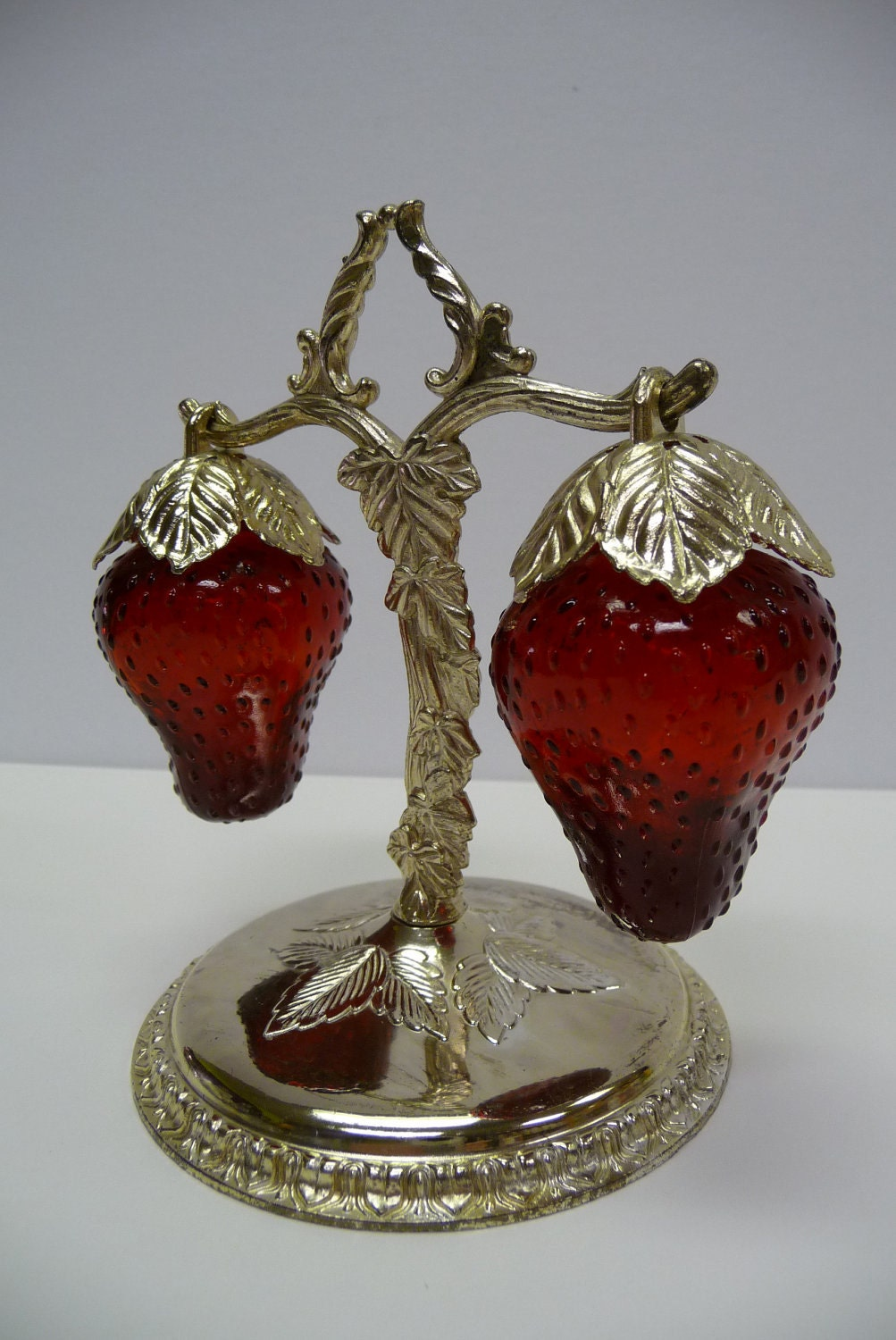 Strawberries Hanging From Tree Vine Stand Vintage Salt And
