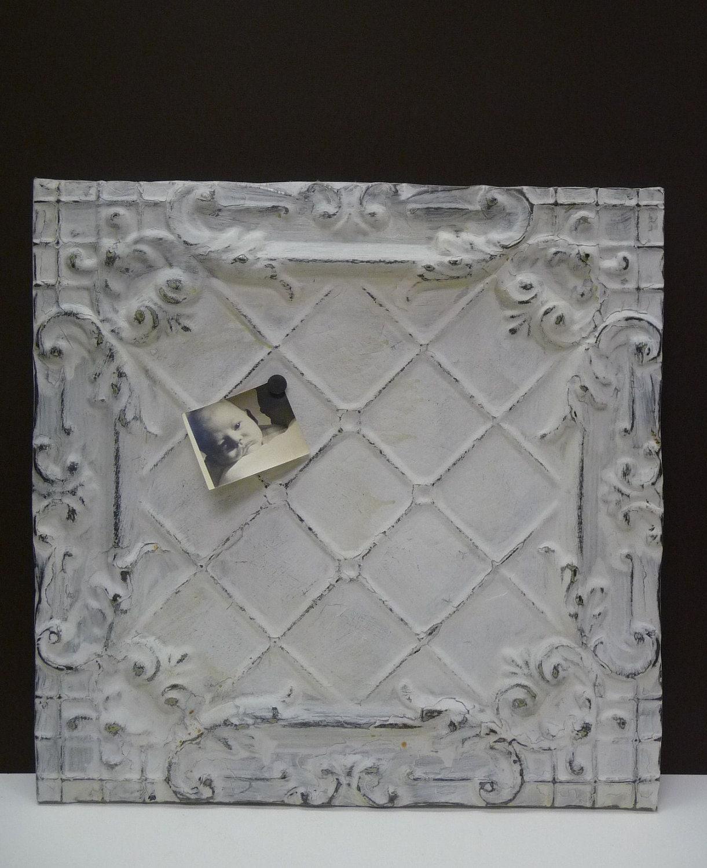 Antique Tin Ceiling Tile Magnet Message Board Large Chippy