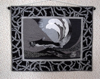 Catfish quilt wallhanging  Honors New Orleans Black and white with  music  notes themed border