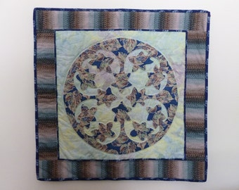 Hawaiin Plumeria Floral design Quilt hand appliqued and hand quilted wallhanging