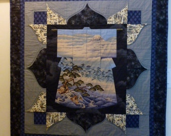 SALE Kimono quilt Wall hanging Japanese scene  blue and grey