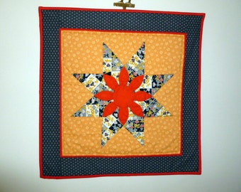 Appliqued quilt wall Hanging upcycled Vintage 1930's red  grey and black fabric Missouri Daisy