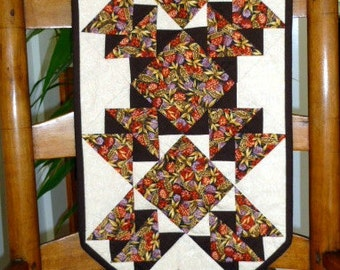 Quilt table runner Autumn Fall Wheat and berries  brown red and gold