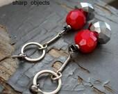 NECKING - long elegant gunmetal metalwork, silver hoop & red / graphite faceted crystal beaded duster dangle EARRINGS