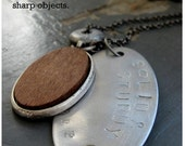 SOLID and STURDY - mens layered wood, steel stamped tag , antique distressed metalwork hardware charm chain NECKLACE