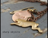 "SPLIT - miniature antique stamped rabbit, wrench charm & metalwork tag charm 19"" chain NECKLACE"
