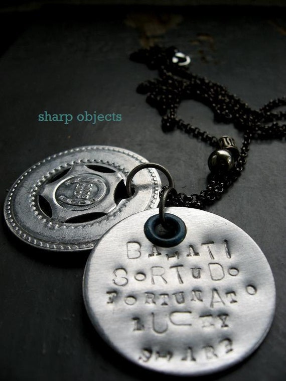 A LUCKY Charm - mens vintage silver stamped tag, penny arcade lucky clover coin & charm chain NECKLACE