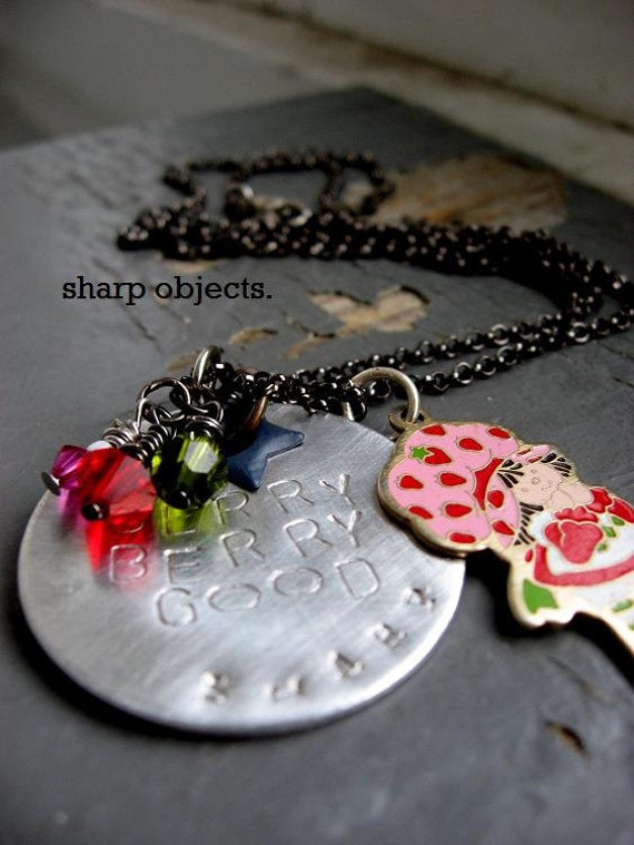 STRAWBERRY SHORTCAKE - stamped silver tag, pink & red crystal, vintage enamel metalwork charm chain NECKLACE