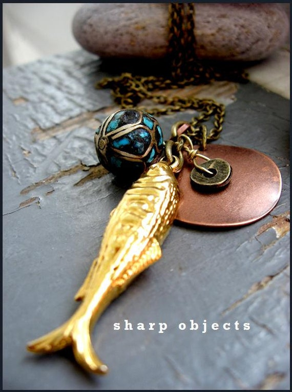 OMEGA 3 - layered gold fish , tribal trade bead, copper tag & brass ingot metalwork charm chain NECKLACE