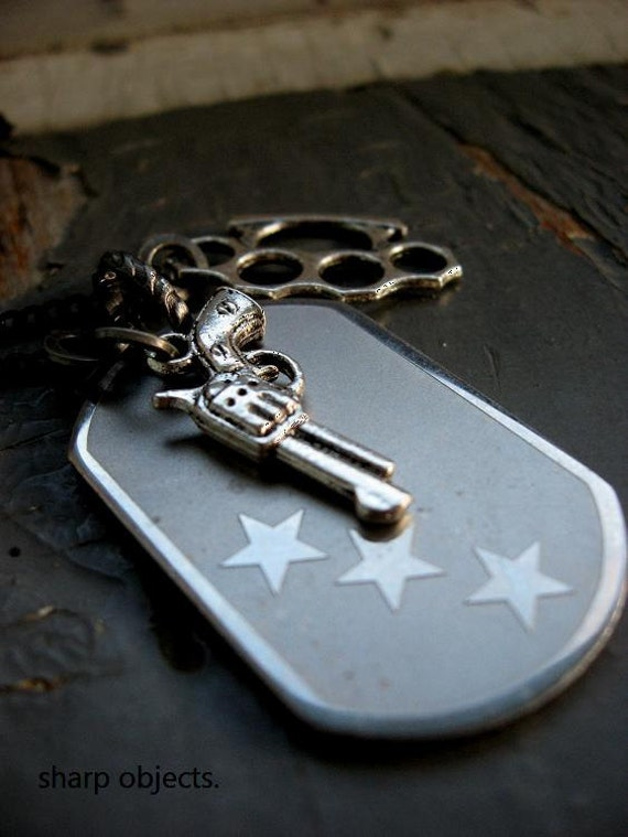 RELINQUISH - layered stainless steel stamped star tag, silver gun & brass knuckles charm chain NECKLACE