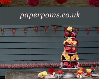 "5 x large 14"" paper poms you choose colour"