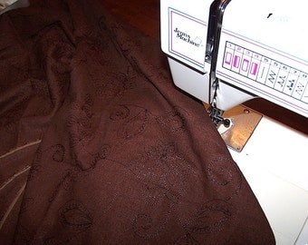 Floral Swirl Embroidery Brown Heavy Cotton Fabric