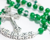 Personalized Confirmation Rosary in green