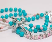 Personalized Confirmation Rosary in turquoise & pink