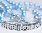 Personalized Rosary for Baptism or Baby's First in Blue and Silver pearls