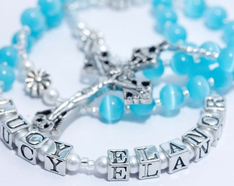 Personalized Rosary in Aqua Blue & Pearl