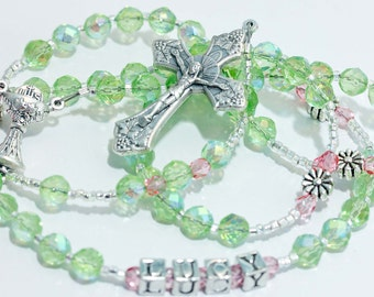 Personalized First Communion Rosary in lime green & pink