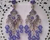 Tanzanite Crystal Chandelier Earrings Antique Silver Drops Purple Swarovski Dangle