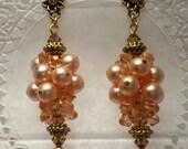 Peach Pearls Grape Cluster Earrings Swarovski Crystals Dangle Chandelier