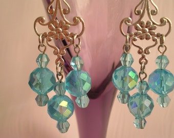 Aqua Crystal AB Dangle Earrings Chandelier Long Turquoise Aquamarine Blue Green Silver Swirl Drops