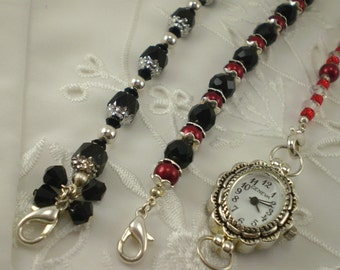 Red Black Silver Watch 3 Interchangeable Beaded Bracelets