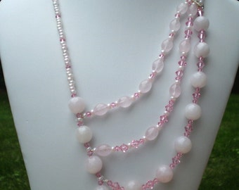 Asymmetric Rose Quartz Necklace Pink Swarovski Crystals Pink Ceylon Seed Beads 3 Strand Necklace