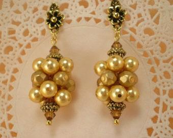 Gold Grape Cluster Earrings Swarovski Topaz Crystals Pearls Dangle Earrings
