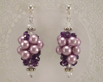Grape Cluster Earrings Purple Amethyst Crystals Lavender Pearls Lilac Orchid Dangle