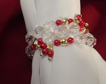 Red Gold Bracelet Large Clear Acrylic Beads Faux Pearls Memory Wire 2 Strand