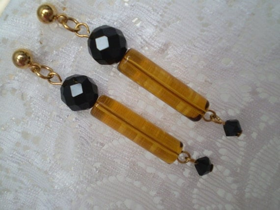 Amber Black Crystal Dangle Earrings, Cylinder, Tube shape