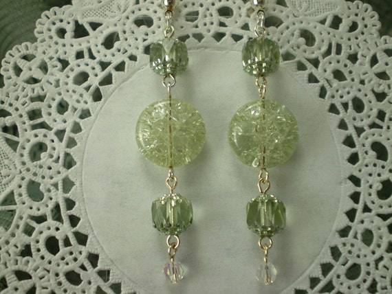 Mint Green Earrings Cracked Ice Glass Cathedral Beads Long Dangle Earrings