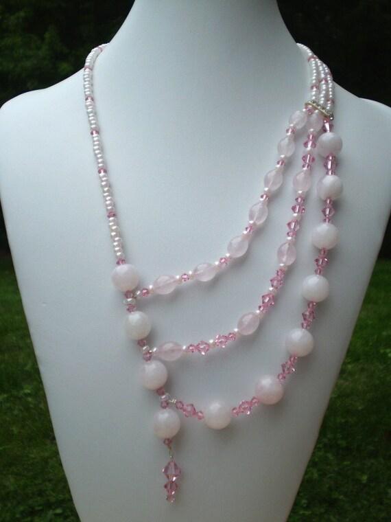 Asymmetric Rose Quartz Necklace Pink Swarovski Crystals Pink Ceylon Seed Beads 3 Strand Necklace
