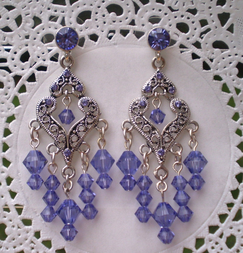 Tanzanite Crystal Chandelier Earrings Antique Silver By