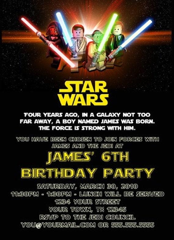 custom printable happy birthday invitation lego star wars