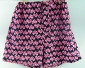 Valentines Day boxer sleep shorts heart print on black background XL