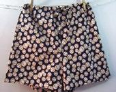 Boxers pj shorts baseball print on navy blue background LARGE