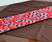 Valentines Day Table Runner quilted in red black pink white with hearts and puppies