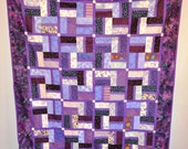 "Quilt shades of purple OOAK 66"" x 79""  youth twin lap throw size"