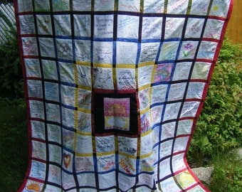 Wedding Guest book Signature Quilt - Graduation, Shower, Special Occasion Custom Made Keepsake