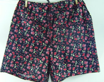 Valentines Day boxer sleep shorts hearts and roses print LARGE