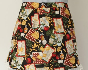 Hostess half apron with Italian cooking print