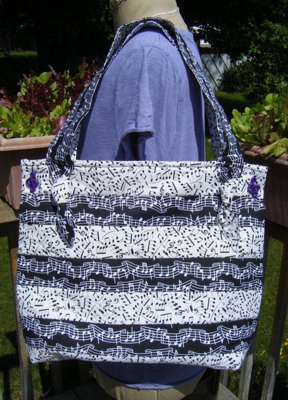 Music Quilted Button Tote Black and White Musical Notes Print
