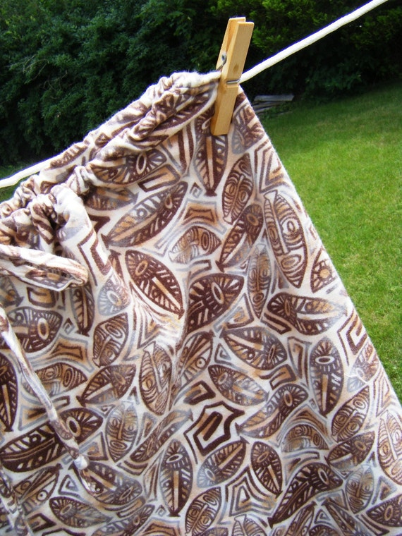 2XL Plus size Dorm pants pajama lounge flannel brown ivory mask print 2XL